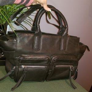 Fabulous Moto Black Leather XL Travel Bag NICE !
